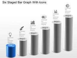 Six Staged Bar Graph With Icons Powerpoint Template Slide