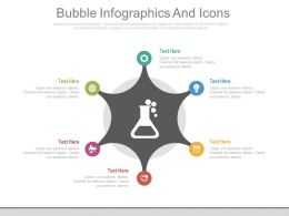 Six Staged Bubble Infographics And Icons Flat Powerpoint Design