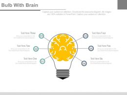 Six Staged Bulb With Brain Diagram Powerpoint Slides
