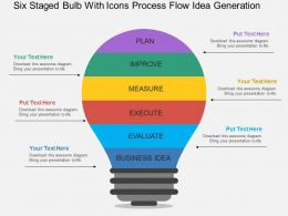 Six Staged Bulb With Icons Process Flow Idea Generation Flat Powerpoint Desgin