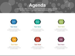 Six Staged Business Agenda Diagram Powerpoint Slides