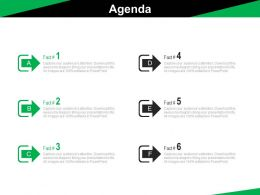 Six Staged Business Agenda Management Powerpoint Slides