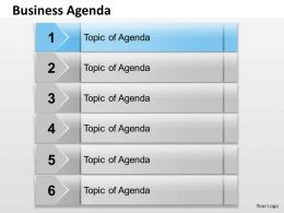 Six Staged Business Agenda Text Boxes 0214