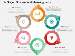 Six Staged Business And Marketing Icons Flat Powerpoint Design