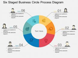Six Staged Business Circle Process Diagram Flat Powerpoint Design