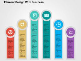 Six Staged Business Growth Analysis Flat Powerpoint Design