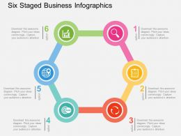 Six Staged Business Infographics Flat Powerpoint Design