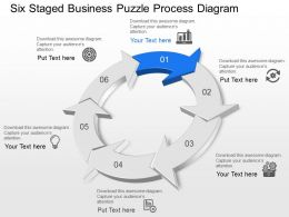 Six Staged Business Puzzle Process Diagram Powerpoint Template Slide