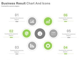 Six Staged Business Result Charts And Icons Powerpoint Slides