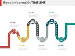 Six Staged Business Roadmap Timeline Powerpoint Slides