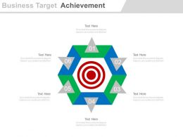 Six Staged Business Target Achievement Chart Powerpoint Slides