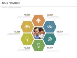 Six Staged Business Vision Chart With Idea Generation And Target Analysis Powerpoint Slides