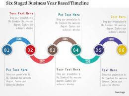 Six Staged Business Year Based Timeline Flat Powerpoint Design