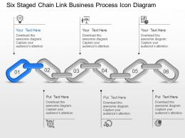 Six Staged Chain Link Business Process Icon Diagram Powerpoint Template Slide