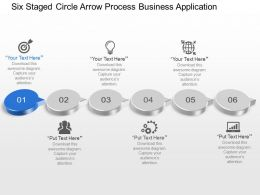 Six Staged Circle Arrow Process Business Application Powerpoint Template Slide