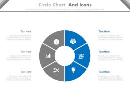 Six Staged Circle Chart And Icons Powerpoint Slides