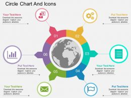 Six Staged Circle Chart And Icons Ppt Presentation Slides