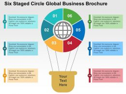 Six Staged Circle Global Business Brochure Flat Powerpoint Design