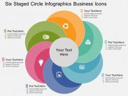 Six Staged Circle Infographics Business Icons Flat Powerpoint Design