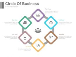 Six Staged Circle Of Business Communication Flat Powerpoint Design