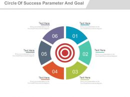 Six Staged Circle Of Success Parameter And Business Goal Powerpoint Slides