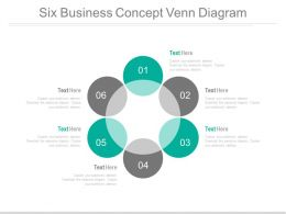 Six Staged Circle Of Venn Diagram Powerpoint Slides