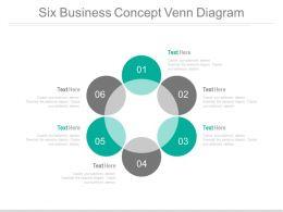 Six Staged Circle Of Venn Diagram Powerpoint Slides