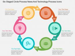 Six Staged Circle Process News And Technology Process Icons Flat Powerpoint Design