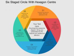 Six Staged Circle With Heaxagon Centre Flat Powerpoint Desgin