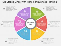 Six Staged Circle With Icons For Business Planning Flat Powerpoint Design