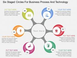 Six Staged Circles For Business Process And Technology Flat Powerpoint Design