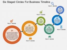 six staged circles for business timeline flat powerpoint design