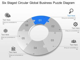 Six Staged Circular Global Business Puzzle Diagram Powerpoint Template Slide