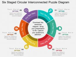 Six Staged Circular Interconnected Puzzle Diagram Flat Powerpoint Design