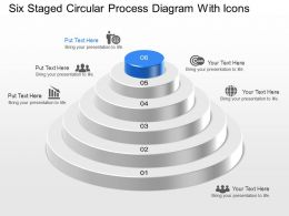 Six Staged Circular Process Diagram With Icons Powerpoint Template Slide