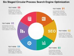 Six Staged Circular Process Search Engine Optimization Flat Powerpoint Design