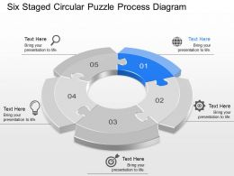 Six Staged Circular Puzzle Process Diagram Powerpoint Template Slide