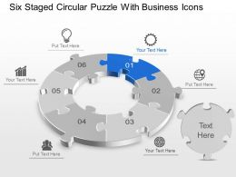 Six Staged Circular Puzzle With Business Icons Powerpoint Template Slide