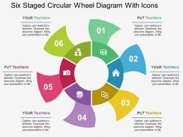 Six Staged Circular Wheel Diagram With Icons Flat Powerpoint Design