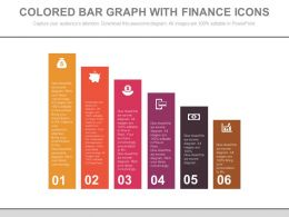 Six Staged Colored Bar Graph With Finance Icons Powerpoint Slides