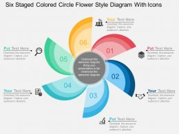 Six Staged Colored Circle Flower Style Diagram With Icons Flat Powerpoint Design