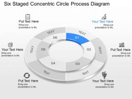 Six Staged Concentric Circle Process Diagram Powerpoint Template Slide
