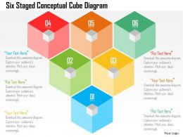 Six Staged Conceptual Cube Diagram Flat Powerpoint Design