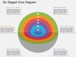 Six Staged Core Diagram Flat Powerpoint Design