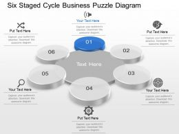 Six Staged Cycle Business Puzzle Diagram Powerpoint Template Slide