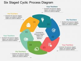 Six Staged Cyclic Process Diagram Flat Powerpoint Design
