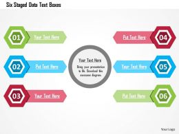 Six Staged Data Text Boxes Flat Powerpoint Design