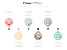 Six Staged Donut Chart Percentage Timeline Diagram Powerpoint Slides