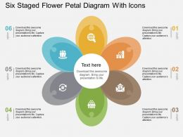 Six Staged Flower Petal Diagram With Icons Flat Powerpoint Design