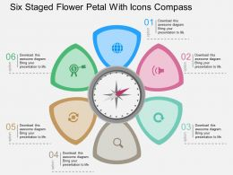 Six Staged Flower Petal With Icons Compass Flat Powerpoint Design